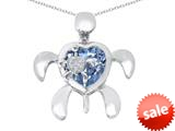 Original Star K™ Good Luck Mother and Child Turtle Pendant with Heart Shape Simulated Aquamarine style: 309315