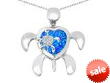 Original Star K™ Good Luck Mother and Child Turtle Pendant with Heart Shape Created Blue Opal style: 309316