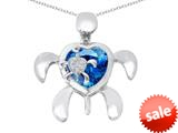Original Star K™ Good Luck Mother and Child Turtle Pendant with Heart Shape Simulated Blue Topaz style: 309317