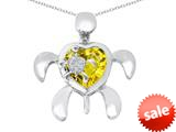 Original Star K™ Good Luck Mother and Child Turtle Pendant with Heart Shape Simulated Citrine style: 309318