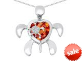 Original Star K™ Good Luck Mother and Child Turtle Pendant with Heart Shape Simulated Orange Mexican Fire Opal style: 309320