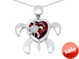 Original Star K™ Good Luck Mother and Child Turtle Pendant with Heart Shape Simulated Garnet style: 309321