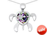 Original Star K™ Good Luck Mother and Child Turtle Pendant with Heart Shape Rainbow Mystic Topaz style: 309322