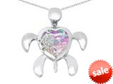 Original Star K™ Good Luck Mother and Child Turtle Pendant with Heart Shape Created Pink Opal style: 309324