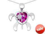 Original Star K™ Good Luck Mother and Child Turtle Pendant with Heart Shape Created Pink Sapphire style: 309325