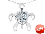 Original Star K™ Good Luck Mother and Child Turtle Pendant with Heart Shape Simulated Diamond style: 309328