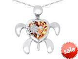 Original Star K™ Good Luck Mother and Child Turtle Pendant with Heart Shape Simulated Imperial Yellow Topaz style: 309329