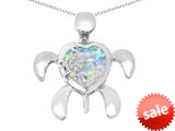 Original Star K™ Good Luck Mother and Child Turtle Pendant with Heart Shape Created Opal style: 309330