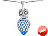Original Star K™ Good Luck Owl Pendant with Pear Shape Created Blue Opal style: 309331
