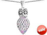 Original Star K™ Good Luck Owl Pendant with Pear Shape Created Pink Opal style: 309333