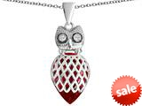 Original Star K™ Good Luck Owl Pendant with Pear Shape Created Ruby style: 309335