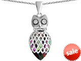 Original Star K™ Good Luck Owl Pendant with Pear Shape Rainbow Mystic Topaz style: 309336