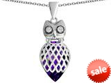 Original Star K™ Good Luck Owl Pendant with Pear Shape Simulated Amethyst style: 309337
