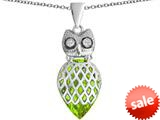 Original Star K™ Good Luck Owl Pendant with Pear Shape Simulated Apple Green Amethyst style: 309338