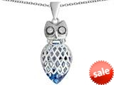 Original Star K™ Good Luck Owl Pendant with Pear Shape Simulated Aquamarine style: 309339