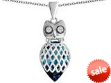 Original Star K™ Good Luck Owl Pendant with Pear Shape Simulated Blue Topaz style: 309340