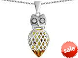 Original Star K™ Good Luck Owl Pendant with Pear Shape Simulated Citrine style: 309341