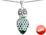 Original Star K™ Good Luck Owl Pendant with Pear Shape Simulated Emerald style: 309343