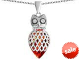 Original Star K™ Good Luck Owl Pendant with Pear Shape Simulated Orange Mexican Fire Opal style: 309344