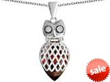 Original Star K™ Good Luck Owl Pendant with Pear Shape Simulated Garnet style: 309345