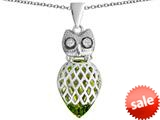 Original Star K™ Good Luck Owl Pendant with Pear Shape Simulated Peridot style: 309347