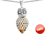 Original Star K™ Good Luck Owl Pendant with Pear Shape Simulated Imperial Yellow Topaz style: 309350