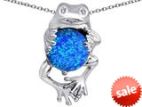 Original Star K™ Good Luck Frog Holding Round 10mm Created Blue Opal Pendant style: 309351