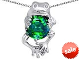 Original Star K™ Good Luck Frog Holding Round 10mm Simulated Emerald Pendant style: 309352