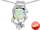 Original Star K™ Good Luck Frog Holding Round 10mm Created Opal Pendant style: 309353
