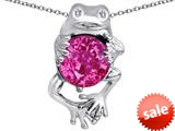Original Star K™ Good Luck Frog Holding Round 10mm Created Pink Sapphire Pendant style: 309354