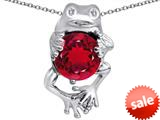 Original Star K™ Good Luck Frog Holding Round 10mm Created Ruby Pendant style: 309355