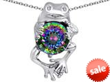 Original Star K™ Good Luck Frog Holding Round 10mm Rainbow Mystic Topaz Pendant style: 309357