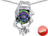 Original Star K™ Good Luck Frog Holding Round 10mm Rainbow Mystic Topaz Pendant style: 309357