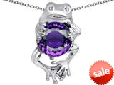 Original Star K™ Good Luck Frog Holding Round 10mm Simulated Amethyst Pendant style: 309358