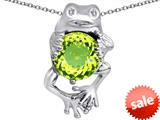 Original Star K™ Good Luck Frog Holding Round 10mm Simulated Apple Green Amethyst Pendant style: 309359