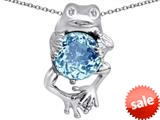 Original Star K™ Good Luck Frog Holding Round 10mm Simulated Aquamarine Pendant style: 309360