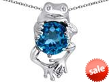 Original Star K™ Good Luck Frog Holding Round 10mm Simulated Blue Topaz Pendant style: 309361