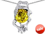 Original Star K™ Good Luck Frog Holding Round 10mm Simulated Citrine Pendant style: 309362