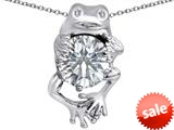 Original Star K™ Good Luck Frog Holding Round 10mm Simulated Diamond Pendant style: 309363