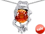 Original Star K™ Good Luck Frog Holding Round 10mm Simulated Orange Mexican Fire Opal Pendant style: 309364