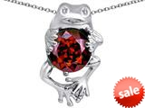 Original Star K™ Good Luck Frog Holding Round 10mm Simulated Garnet Pendant style: 309365