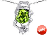 Original Star K™ Good Luck Frog Holding Round 10mm Simulated Peridot Pendant style: 309366
