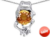Original Star K™ Good Luck Frog Holding Round 10mm Simulated Imperial Yellow Topaz Pendant style: 309367