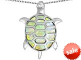 Original Star K™ Good Luck Turtle Pendant with Oval Created Opal style: 309369