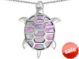 Original Star K™ Good Luck Turtle Pendant with Oval Created Pink Opal style: 309370
