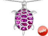 Original Star K™ Good Luck Turtle Pendant with Oval Created Pink Sapphire style: 309371