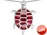 Original Star K™ Good Luck Turtle Pendant with Oval Created Ruby style: 309372