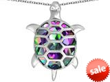 Original Star K™ Good Luck Turtle Pendant with Oval Rainbow Mystic Topaz style: 309373