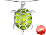Original Star K™ Good Luck Turtle Pendant with Oval Simulated Apple Green Amethyst style: 309375