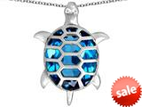 Original Star K™ Good Luck Turtle Pendant with Oval Simulated Blue Topaz style: 309377